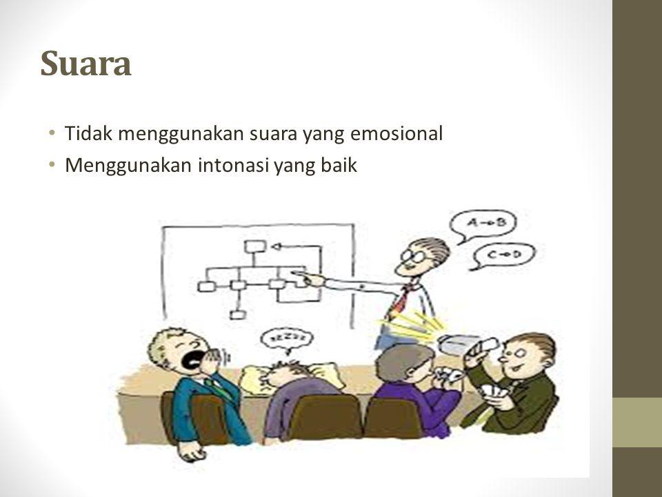 Suara Tidak menggunakan suara yang emosional Menggunakan intonasi yang baik