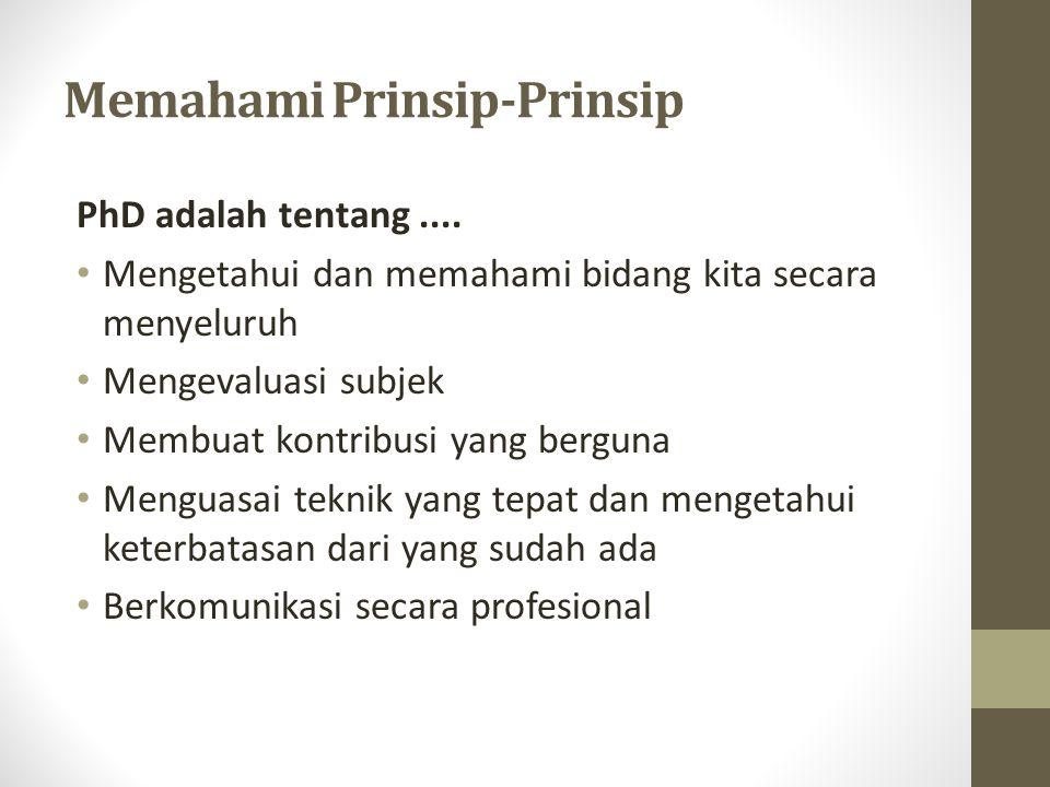 Memahami Prinsip-Prinsip PhD adalah tentang....
