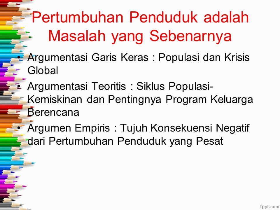 Pertumbuhan Penduduk adalah Masalah yang Sebenarnya Argumentasi Garis Keras : Populasi dan Krisis Global Argumentasi Teoritis : Siklus Populasi- Kemis
