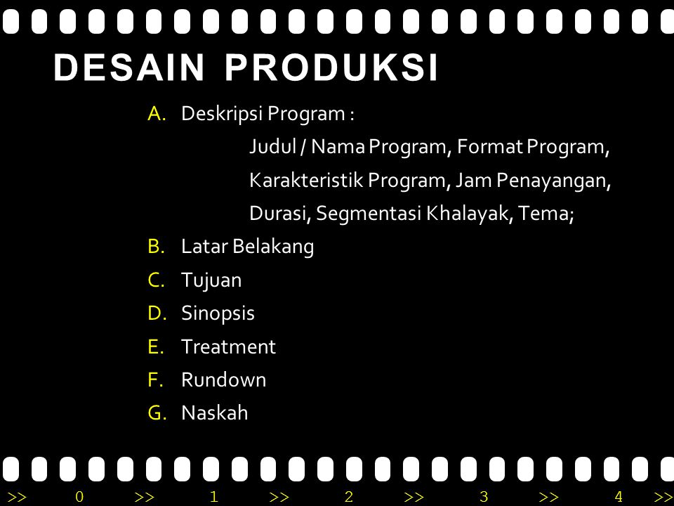 >>0 >>1 >> 2 >> 3 >> 4 >> DESAIN PRODUKSI A.Deskripsi Program : Judul / Nama Program, Format Program, Karakteristik Program, Jam Penayangan, Durasi, S