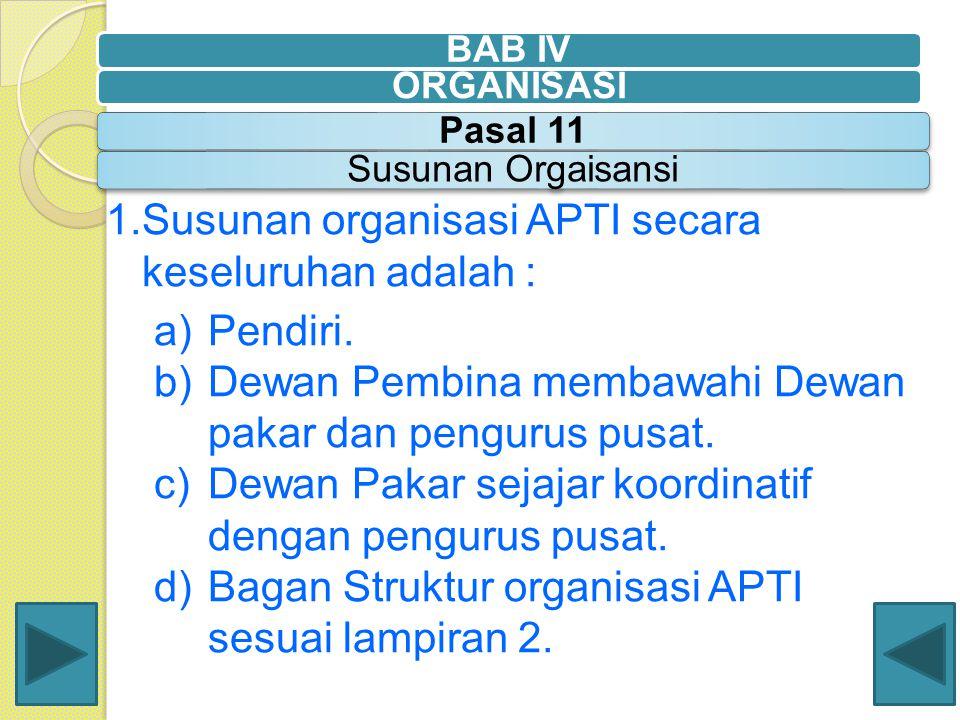 1.Susunan organisasi APTI secara keseluruhan adalah : a)Pendiri. b)Dewan Pembina membawahi Dewan pakar dan pengurus pusat. c)Dewan Pakar sejajar koord