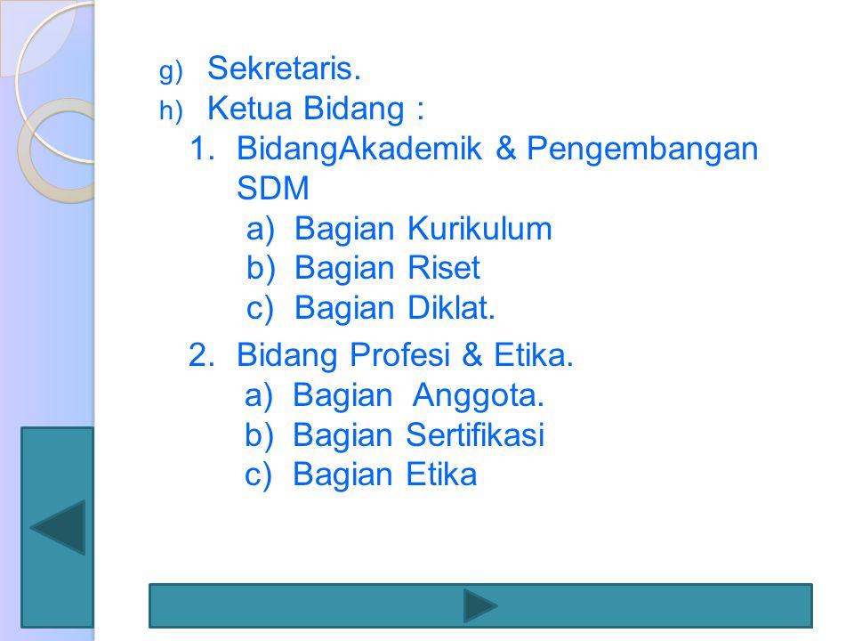 g) Sekretaris. h) Ketua Bidang : 1.BidangAkademik & Pengembangan SDM a)Bagian Kurikulum b)Bagian Riset c)Bagian Diklat. 2.Bidang Profesi & Etika. a)Ba