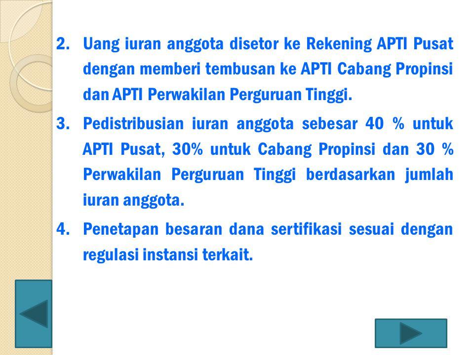 2.Uang iuran anggota disetor ke Rekening APTI Pusat dengan memberi tembusan ke APTI Cabang Propinsi dan APTI Perwakilan Perguruan Tinggi. 3.Pedistribu