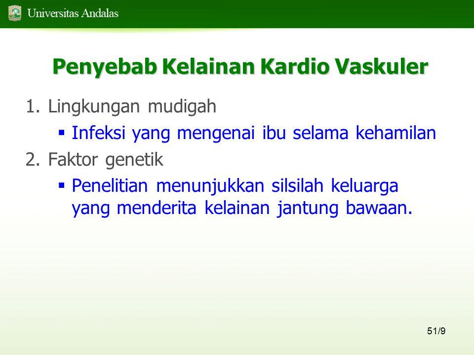 51/9 Penyebab Kelainan Kardio Vaskuler 1.Lingkungan mudigah  Infeksi yang mengenai ibu selama kehamilan 2.Faktor genetik  Penelitian menunjukkan sil
