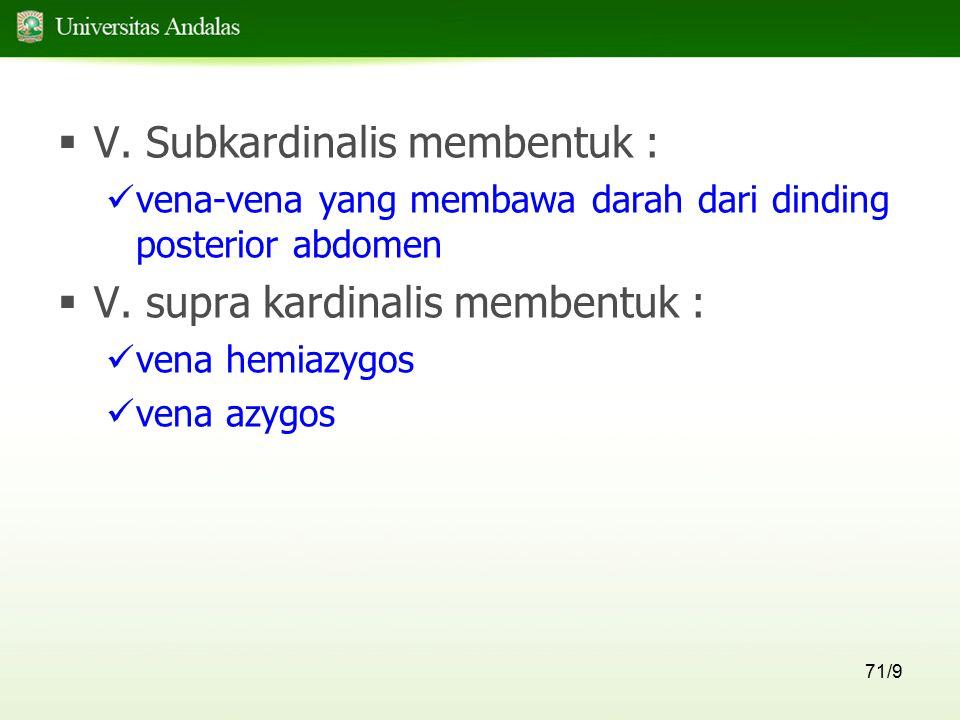 71/9  V. Subkardinalis membentuk : vena-vena yang membawa darah dari dinding posterior abdomen  V. supra kardinalis membentuk : vena hemiazygos vena