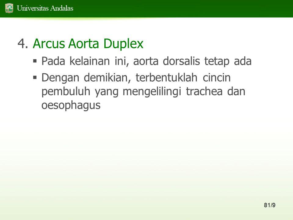 81/9 4. Arcus Aorta Duplex  Pada kelainan ini, aorta dorsalis tetap ada  Dengan demikian, terbentuklah cincin pembuluh yang mengelilingi trachea dan
