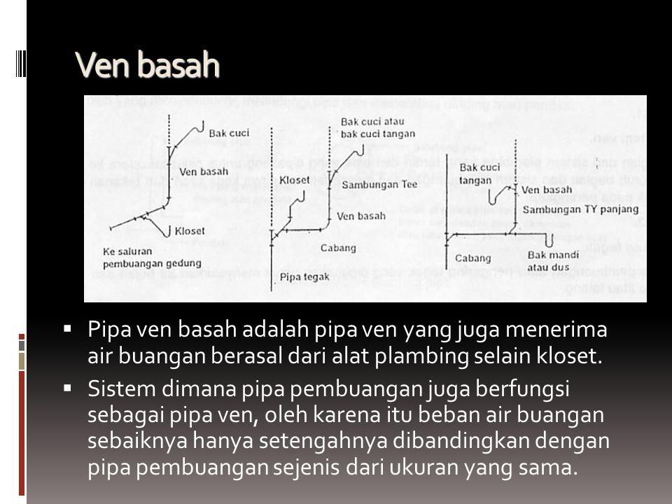 Ven basah  Pipa ven basah adalah pipa ven yang juga menerima air buangan berasal dari alat plambing selain kloset.