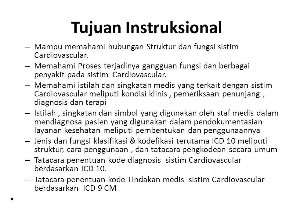 Tujuan Instruksional – Mampu memahami hubungan Struktur dan fungsi sistim Cardiovascular. – Memahami Proses terjadinya gangguan fungsi dan berbagai pe