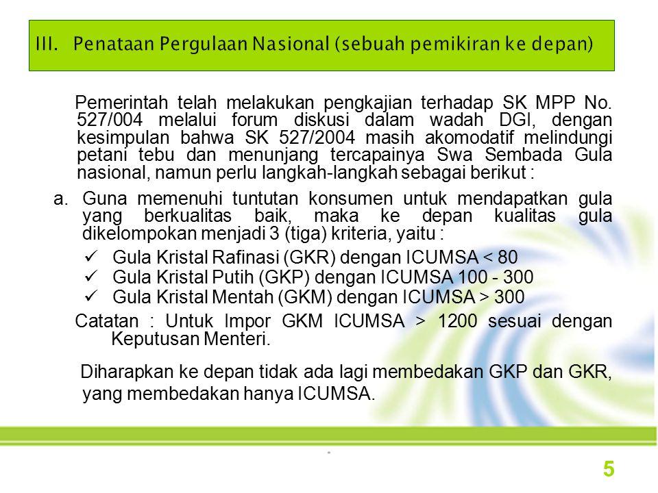 Pemerintah telah melakukan pengkajian terhadap SK MPP No. 527/004 melalui forum diskusi dalam wadah DGI, dengan kesimpulan bahwa SK 527/2004 masih ako