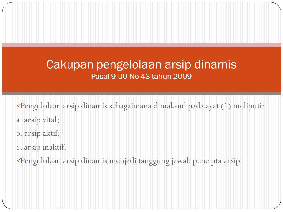 Pengelolaan arsip dinamis sebagaimana dimaksud pada ayat (1) meliputi: a. arsip vital; b. arsip aktif; c. arsip inaktif. Pengelolaan arsip dinamis men