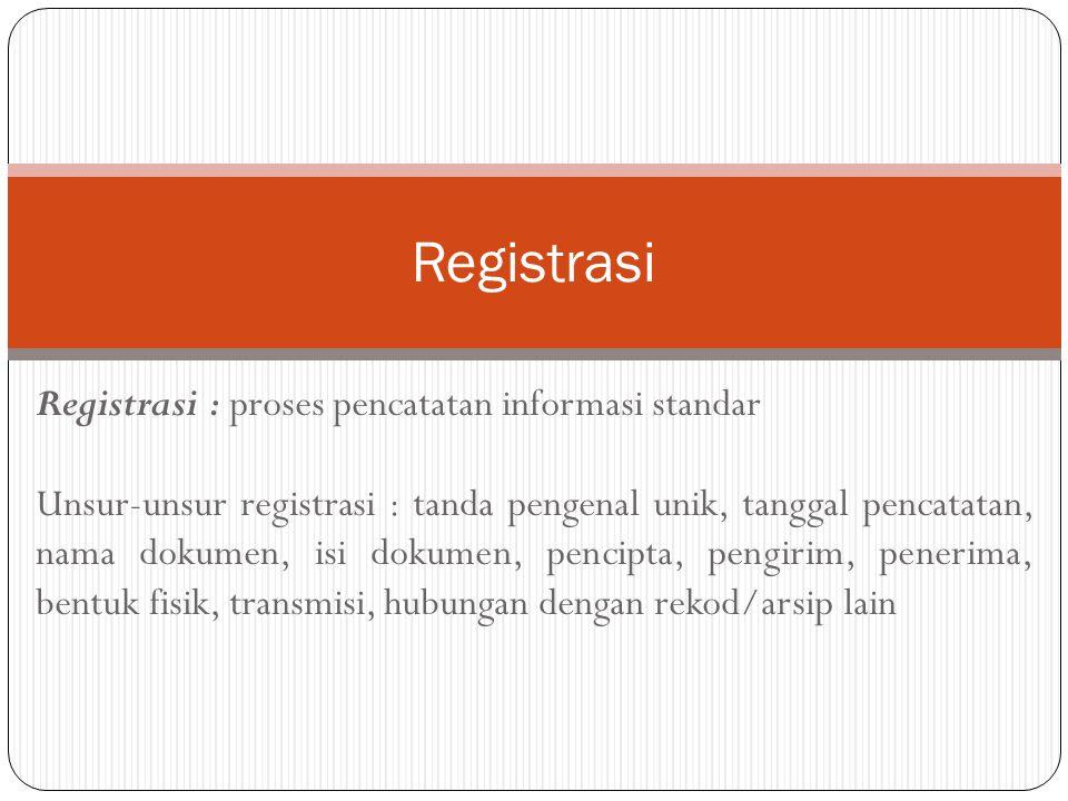 Registrasi : proses pencatatan informasi standar Unsur-unsur registrasi : tanda pengenal unik, tanggal pencatatan, nama dokumen, isi dokumen, pencipta