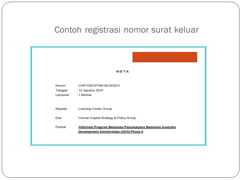 Contoh registrasi nomor surat keluar