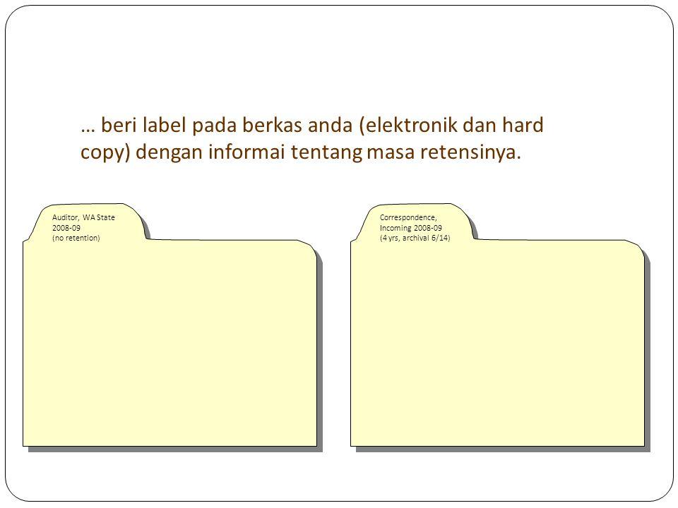 Label/cover title arsip dalam odner
