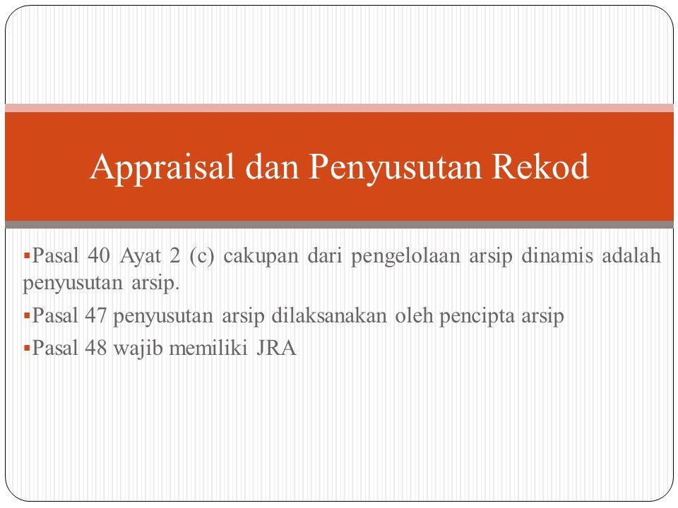  Pasal 40 Ayat 2 (c) cakupan dari pengelolaan arsip dinamis adalah penyusutan arsip.  Pasal 47 penyusutan arsip dilaksanakan oleh pencipta arsip  P