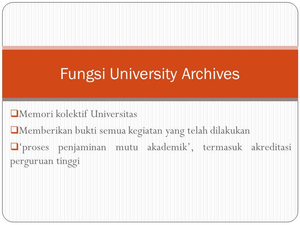  Memori kolektif Universitas  Memberikan bukti semua kegiatan yang telah dilakukan  'proses penjaminan mutu akademik', termasuk akreditasi pergurua
