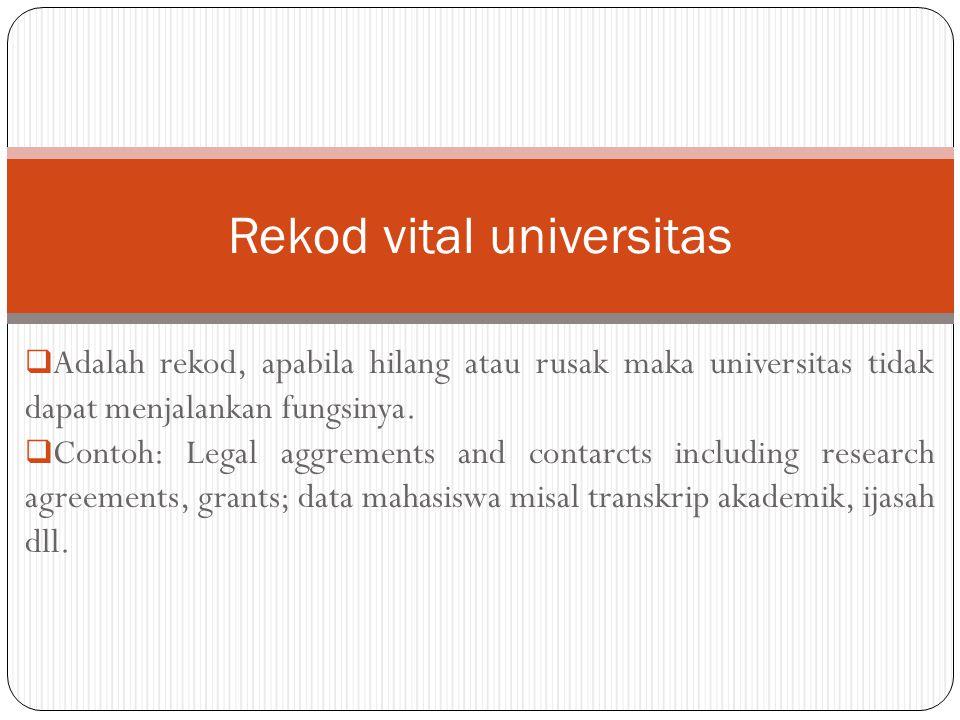  Adalah rekod, apabila hilang atau rusak maka universitas tidak dapat menjalankan fungsinya.  Contoh: Legal aggrements and contarcts including resea