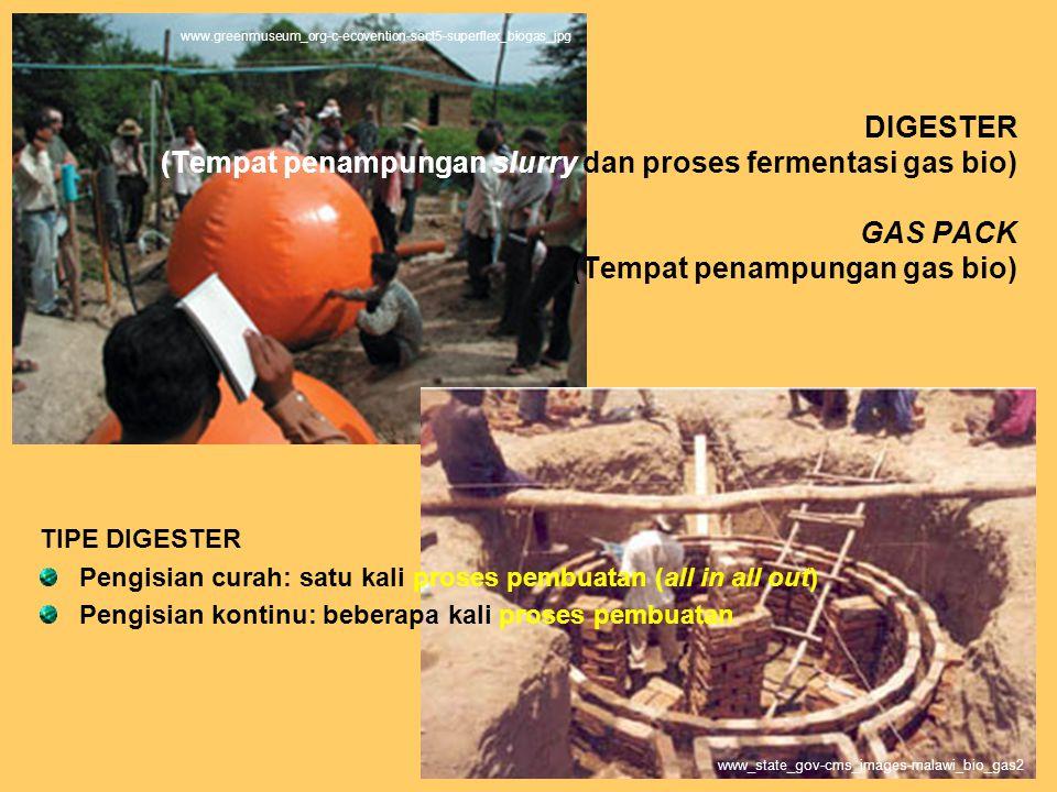 DIGESTER (Tempat penampungan slurry dan proses fermentasi gas bio) GAS PACK (Tempat penampungan gas bio) TIPE DIGESTER Pengisian curah: satu kali proses pembuatan (all in all out) Pengisian kontinu: beberapa kali proses pembuatan www_state_gov-cms_images-malawi_bio_gas2 www.greenmuseum_org-c-ecovention-sect5-superflex_biogas_jpg