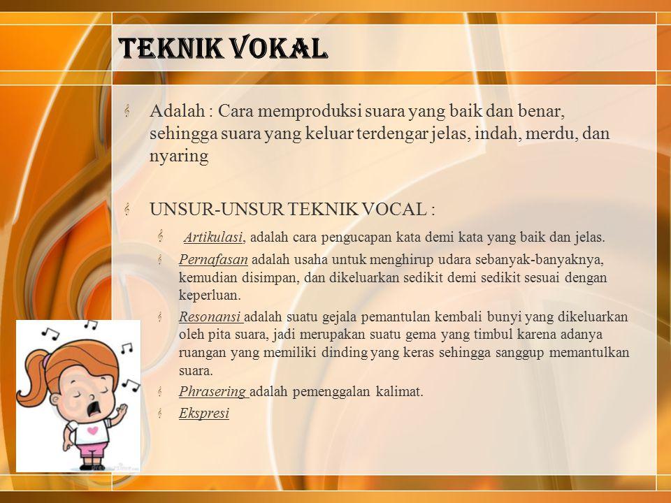 TEKNIK VOKAL Adalah : Cara memproduksi suara yang baik dan benar, sehingga suara yang keluar terdengar jelas, indah, merdu, dan nyaring UNSUR-UNSUR TE