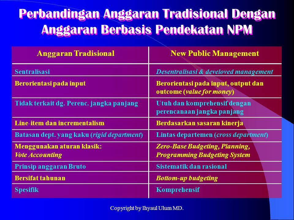 Perbandingan Anggaran Tradisional Dengan Anggaran Berbasis Pendekatan NPM Anggaran Tradisional New Public Management SentralisasiDesentralisasi & deve