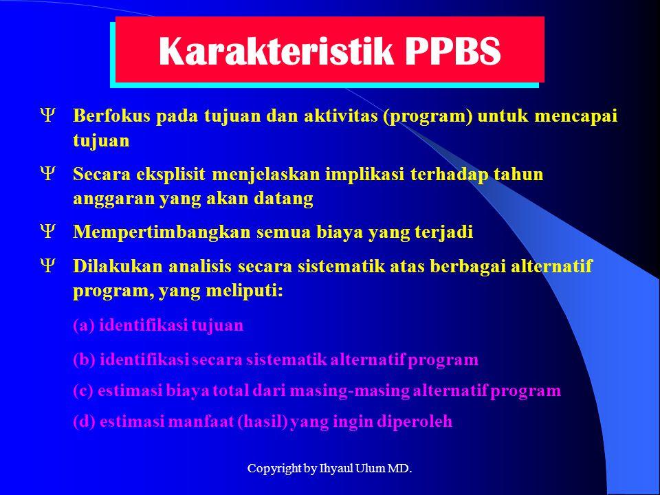 Karakteristik PPBS YBerfokus pada tujuan dan aktivitas (program) untuk mencapai tujuan YSecara eksplisit menjelaskan implikasi terhadap tahun anggaran