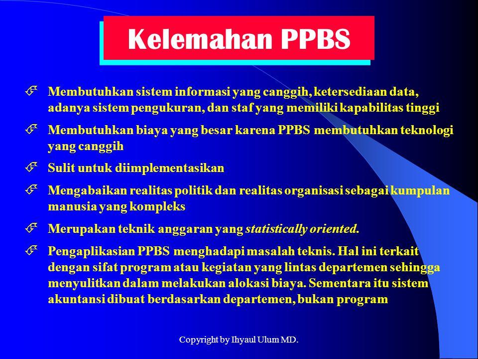 Kelemahan PPBS  Membutuhkan sistem informasi yang canggih, ketersediaan data, adanya sistem pengukuran, dan staf yang memiliki kapabilitas tinggi  M