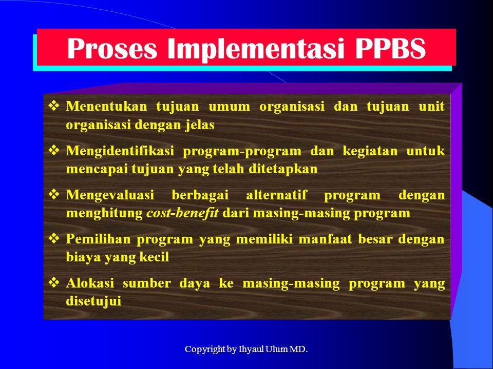 Proses Implementasi PPBS  Menentukan tujuan umum organisasi dan tujuan unit organisasi dengan jelas  Mengidentifikasi program-program dan kegiatan u