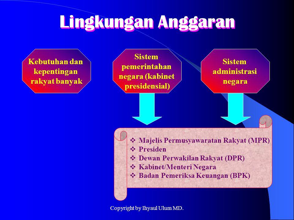 Kebutuhan dan kepentingan rakyat banyak Lingkungan Anggaran Sistem pemerintahan negara (kabinet presidensial) Sistem administrasi negara  Majelis Per