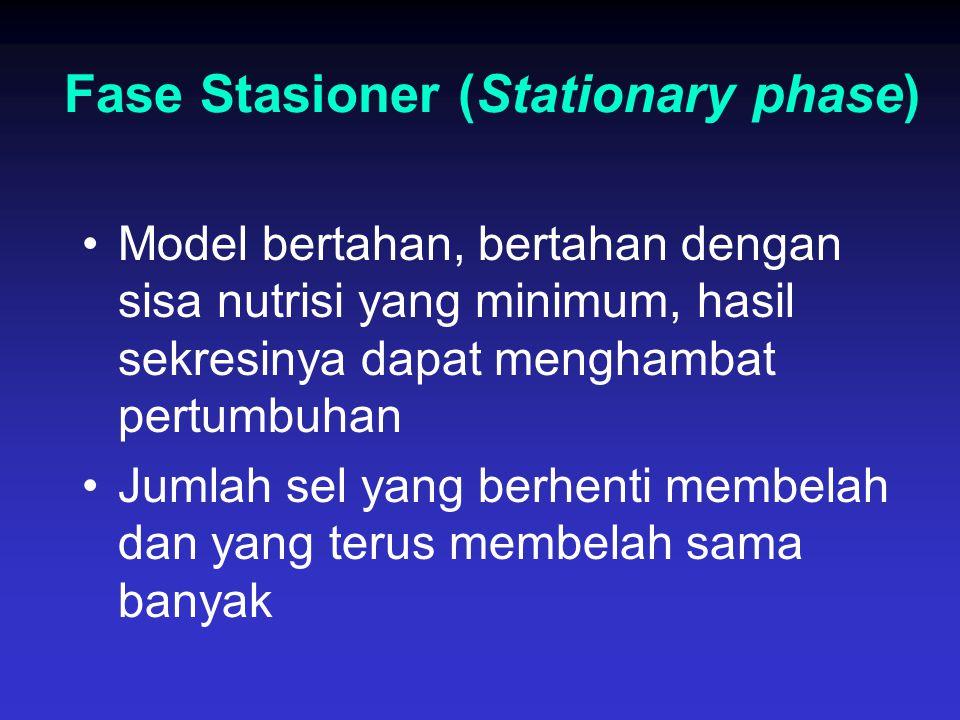 Fase Stasioner (Stationary phase) Model bertahan, bertahan dengan sisa nutrisi yang minimum, hasil sekresinya dapat menghambat pertumbuhan Jumlah sel