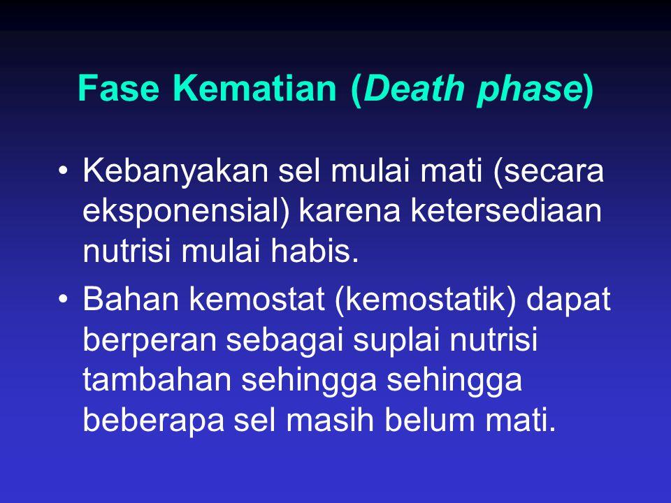 Fase Kematian (Death phase) Kebanyakan sel mulai mati (secara eksponensial) karena ketersediaan nutrisi mulai habis. Bahan kemostat (kemostatik) dapat