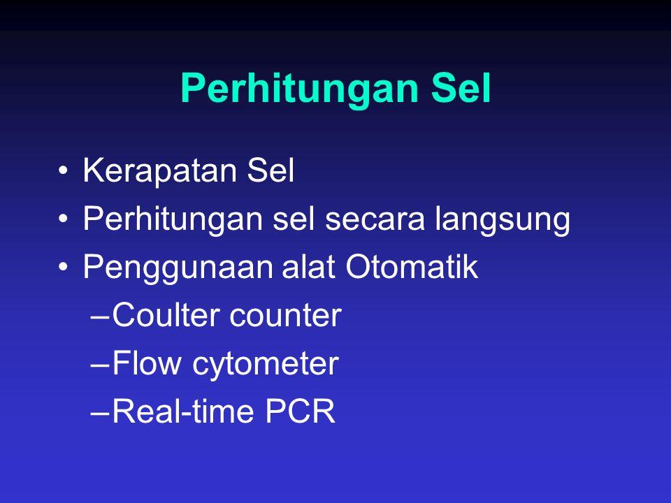 Perhitungan Sel Kerapatan Sel Perhitungan sel secara langsung Penggunaan alat Otomatik –Coulter counter –Flow cytometer –Real-time PCR