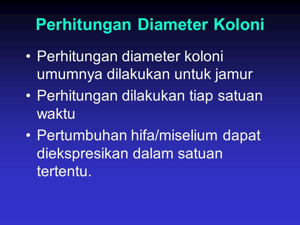 Perhitungan Diameter Koloni Perhitungan diameter koloni umumnya dilakukan untuk jamur Perhitungan dilakukan tiap satuan waktu Pertumbuhan hifa/miseliu