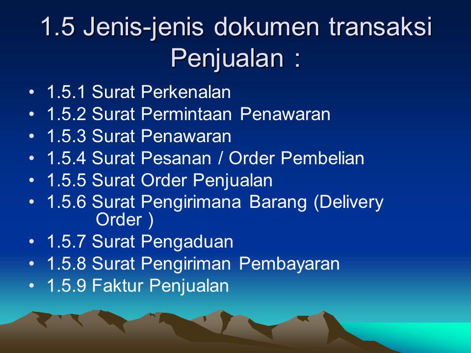 1.5 Jenis-jenis dokumen transaksi Penjualan : 1.5.1 Surat Perkenalan 1.5.2 Surat Permintaan Penawaran 1.5.3 Surat Penawaran 1.5.4 Surat Pesanan / Orde