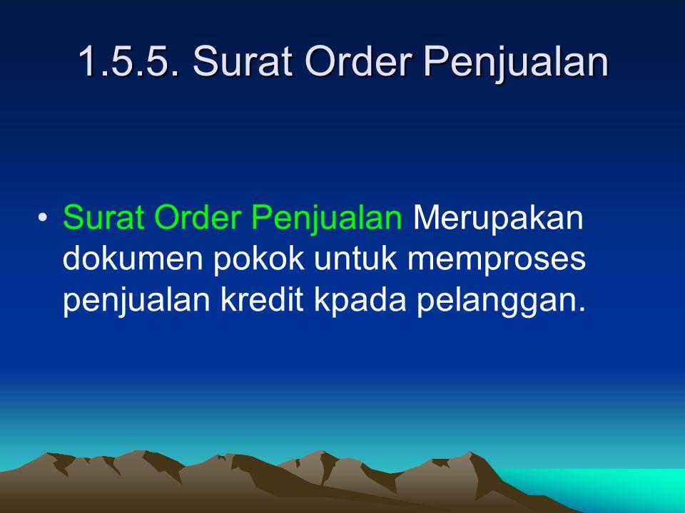1.5.5. Surat Order Penjualan Surat Order Penjualan Merupakan dokumen pokok untuk memproses penjualan kredit kpada pelanggan.