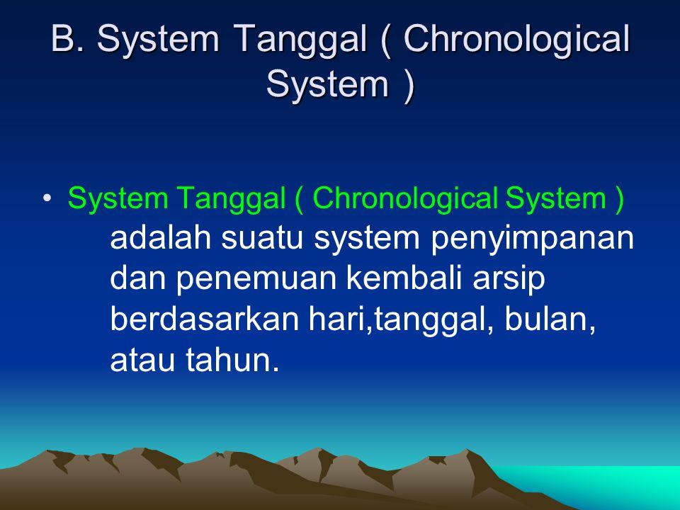 B. System Tanggal ( Chronological System ) System Tanggal ( Chronological System ) adalah suatu system penyimpanan dan penemuan kembali arsip berdasar