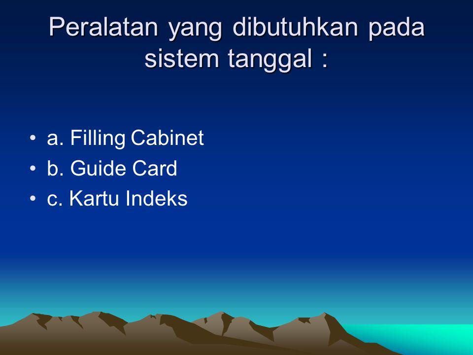 Peralatan yang dibutuhkan pada sistem tanggal : a. Filling Cabinet b. Guide Card c. Kartu Indeks
