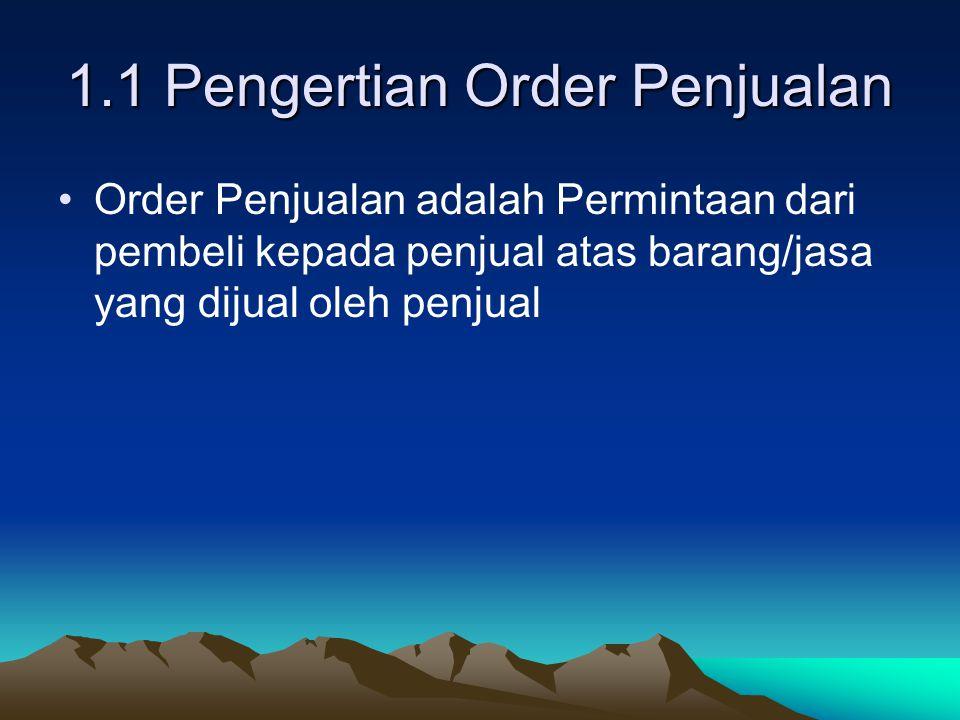1.2 Prosedur Order Penjualan Meliputi dua bagian yaitu : 1.2.1 Petugas Penjualan Tugasnya : –Menerima Pesanan –Menulis Order –Mengirim Order Ke Bagian Order 1.2.2 Bagian Penjualan Tugasnya : –Menghubungi Bagian Kredit –Mengedit Order Penjualan –Mendistribusikan Surat Order