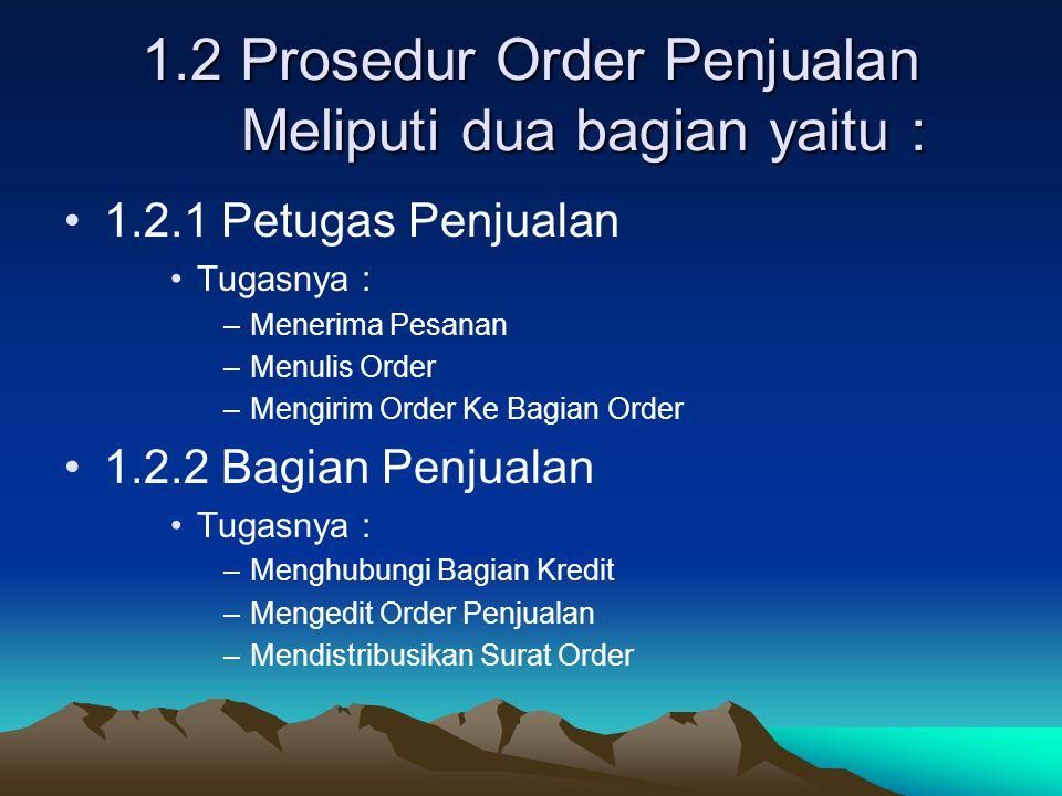 1.2 Prosedur Order Penjualan Meliputi dua bagian yaitu : 1.2.1 Petugas Penjualan Tugasnya : –Menerima Pesanan –Menulis Order –Mengirim Order Ke Bagian