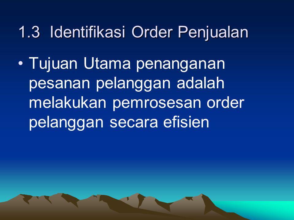 1.3 Identifikasi Order Penjualan Tujuan Utama penanganan pesanan pelanggan adalah melakukan pemrosesan order pelanggan secara efisien