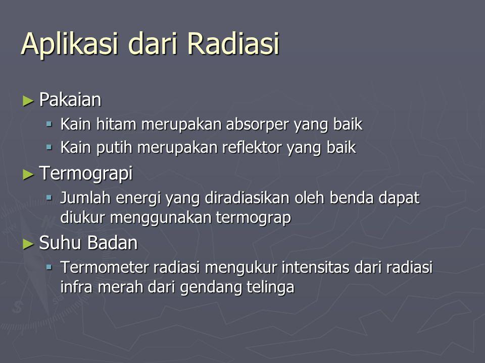 Aplikasi dari Radiasi ► Pakaian  Kain hitam merupakan absorper yang baik  Kain putih merupakan reflektor yang baik ► Termograpi  Jumlah energi yang
