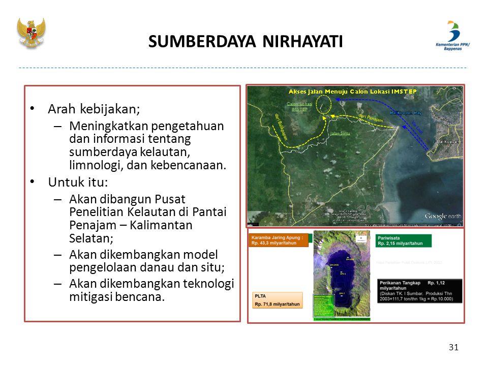 SUMBERDAYA NIRHAYATI Arah kebijakan; – Meningkatkan pengetahuan dan informasi tentang sumberdaya kelautan, limnologi, dan kebencanaan. Untuk itu: – Ak