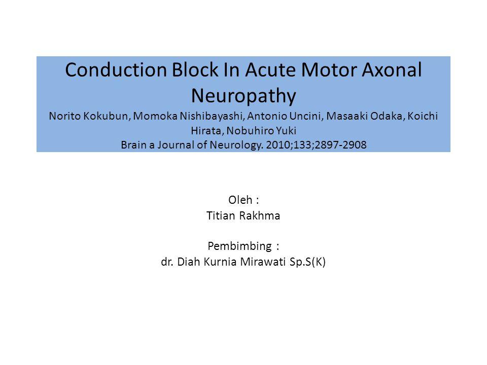 Conduction Block In Acute Motor Axonal Neuropathy Norito Kokubun, Momoka Nishibayashi, Antonio Uncini, Masaaki Odaka, Koichi Hirata, Nobuhiro Yuki Brain a Journal of Neurology.
