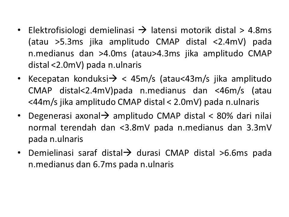 Elektrofisiologi demielinasi  latensi motorik distal > 4.8ms (atau >5.3ms jika amplitudo CMAP distal 4.0ms (atau>4.3ms jika amplitudo CMAP distal <2.0mV) pada n.ulnaris Kecepatan konduksi  < 45m/s (atau<43m/s jika amplitudo CMAP distal<2.4mV)pada n.medianus dan <46m/s (atau <44m/s jika amplitudo CMAP distal < 2.0mV) pada n.ulnaris Degenerasi axonal  amplitudo CMAP distal < 80% dari nilai normal terendah dan <3.8mV pada n.medianus dan 3.3mV pada n.ulnaris Demielinasi saraf distal  durasi CMAP distal >6.6ms pada n.medianus dan 6.7ms pada n.ulnaris