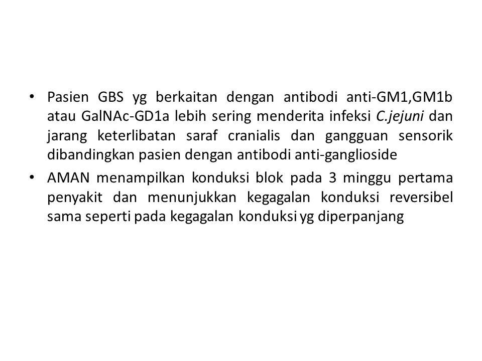 Pasien GBS yg berkaitan dengan antibodi anti-GM1,GM1b atau GalNAc-GD1a lebih sering menderita infeksi C.jejuni dan jarang keterlibatan saraf cranialis dan gangguan sensorik dibandingkan pasien dengan antibodi anti-ganglioside AMAN menampilkan konduksi blok pada 3 minggu pertama penyakit dan menunjukkan kegagalan konduksi reversibel sama seperti pada kegagalan konduksi yg diperpanjang