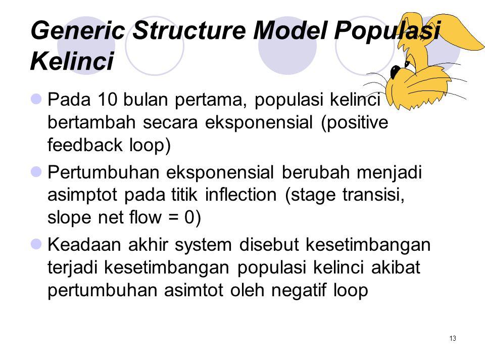 13 Generic Structure Model Populasi Kelinci Pada 10 bulan pertama, populasi kelinci bertambah secara eksponensial (positive feedback loop) Pertumbuhan