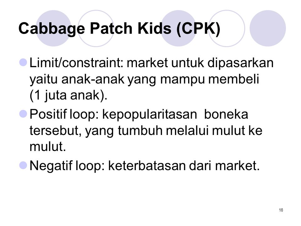 18 Cabbage Patch Kids (CPK) Limit/constraint: market untuk dipasarkan yaitu anak-anak yang mampu membeli (1 juta anak). Positif loop: kepopularitasan