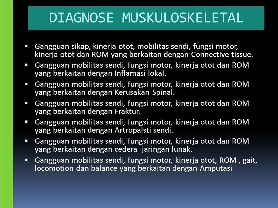 DIAGNOSE MUSKULOSKELETAL  Gangguan sikap, kinerja otot, mobilitas sendi, fungsi motor, kinerja otot dan ROM yang berkaitan dengan Connective tissue.