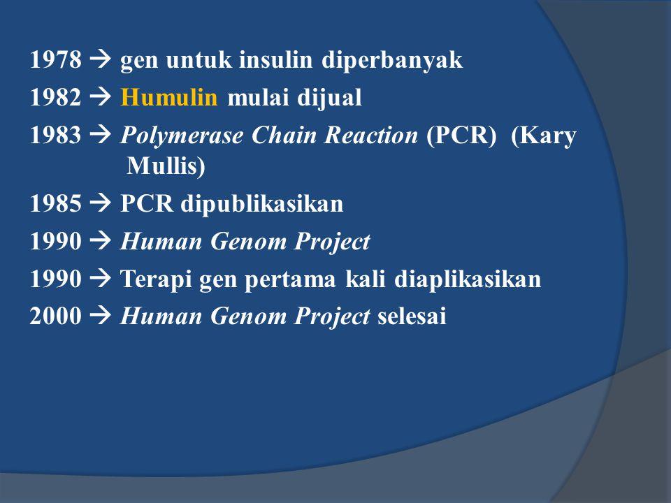 1978  gen untuk insulin diperbanyak 1982  Humulin mulai dijual 1983  Polymerase Chain Reaction (PCR) (Kary Mullis) 1985  PCR dipublikasikan 1990 