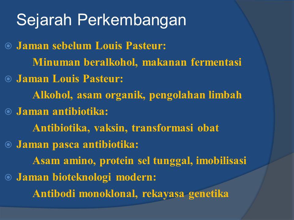  Jaman sebelum Louis Pasteur: Minuman beralkohol, makanan fermentasi  Jaman Louis Pasteur: Alkohol, asam organik, pengolahan limbah  Jaman antibiot