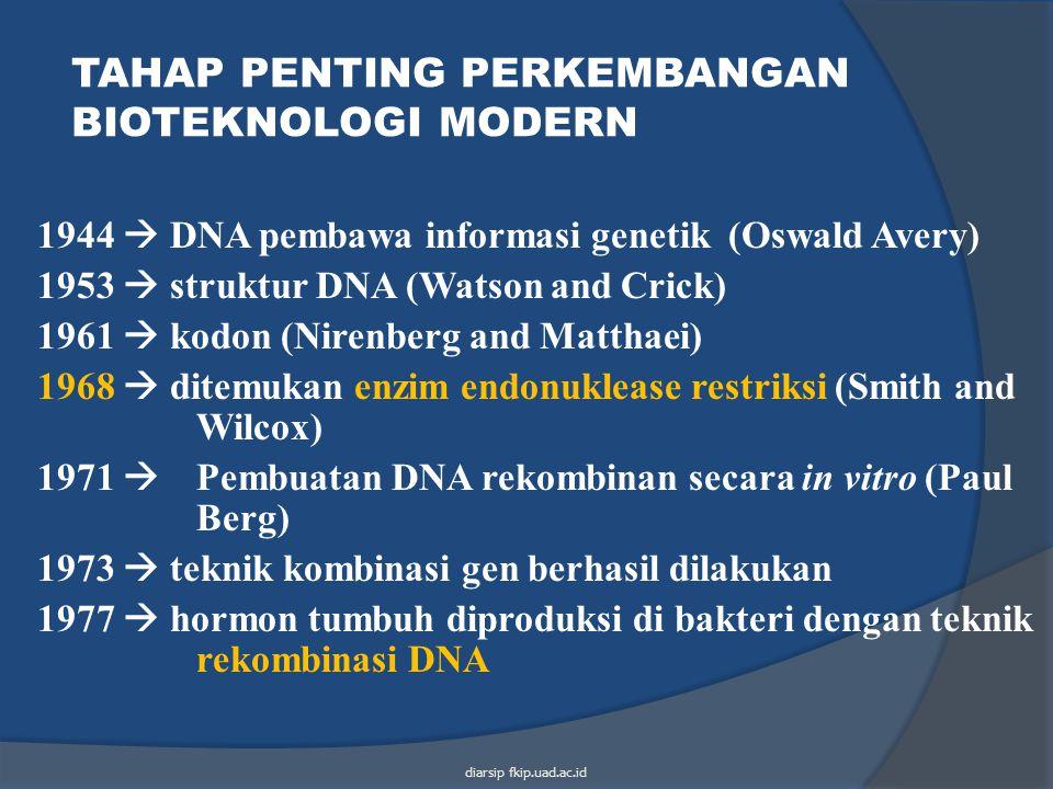 1944  DNA pembawa informasi genetik (Oswald Avery) 1953  struktur DNA (Watson and Crick) 1961  kodon (Nirenberg and Matthaei) 1968  ditemukan enzi