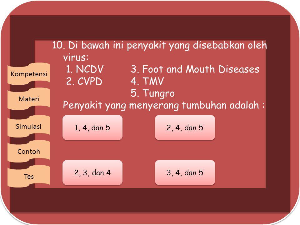 10.Di bawah ini penyakit yang disebabkan oleh virus: 1.